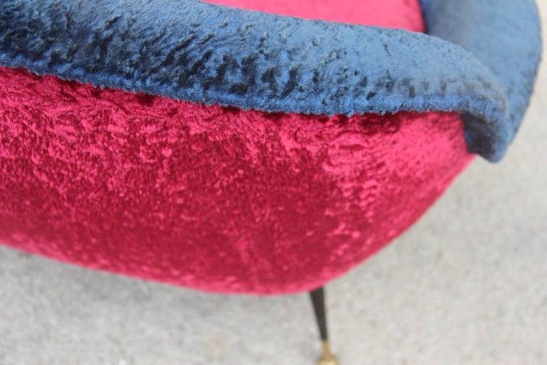 Mid-Century Modern Italian Sofa 1950s Design Minotti Gigi Radice Blu Red Color  For Sale 6