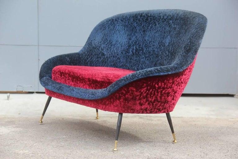 Mid-Century Modern Italian Sofa 1950s Design Minotti Gigi Radice Blu Red Color  For Sale 1