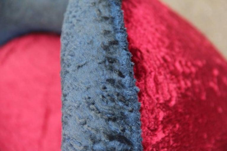Mid-Century Modern Italian Sofa 1950s Design Minotti Gigi Radice Blu Red Color  For Sale 5