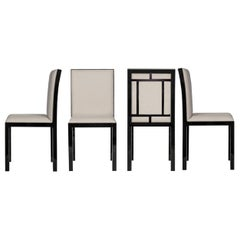 Minimal Armani Casa RIMA Dining Chair, Linen & Silk, Brushed Brown Oak, Italian
