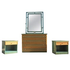 Minimal Bedroom Sets Italian Design Green Bamboo Italgiunco 1970 Brass Straw