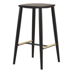 Minimal Blackened Ash Bar Stool with Brass Foot Rests by Coolican & Company