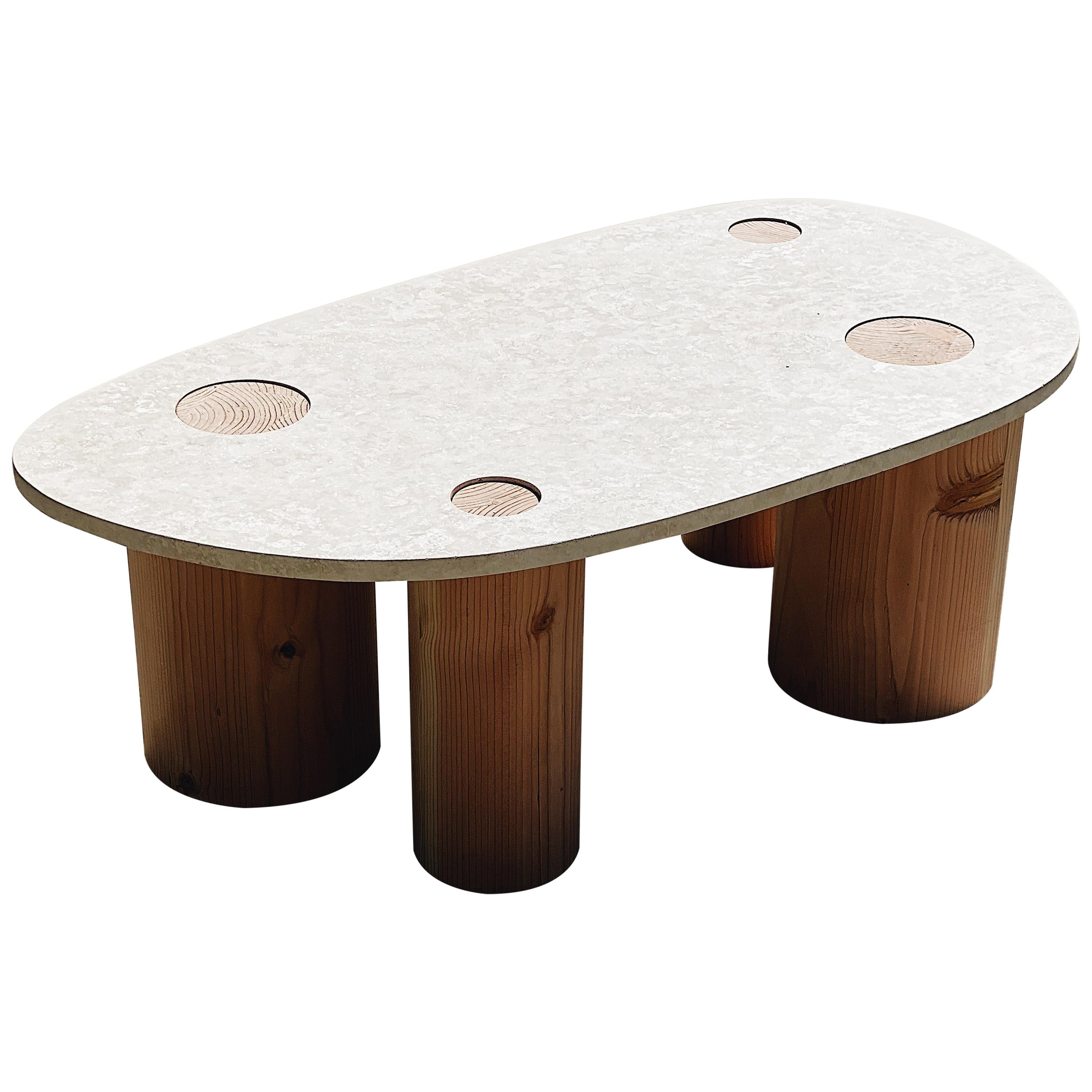 Minimal Coffee Table in Travertine Stone and Turned Solid Wood