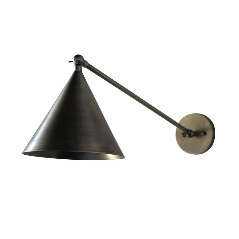 Modern Minimal Cone Shaped Task Light Wall Sconce, Wall Lantern, Pewter For Sale