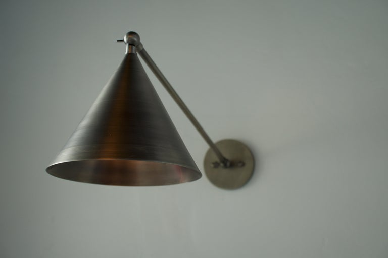 American Minimal Cone Shaped Task Light Wall Sconce, Wall Lantern, Pewter For Sale