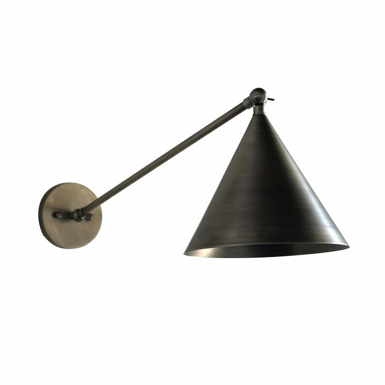 Minimal Cone Shaped Task Light Wall Sconce, Wall Lantern, Pewter For Sale