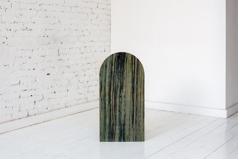 American Minimal, Contemporary Green Stone Tombstone Chair by Fort Standard, In Stock For Sale