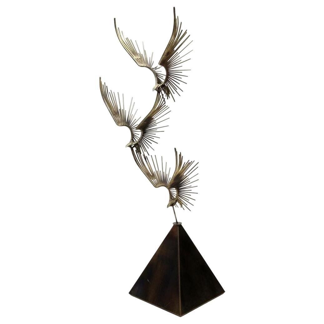 "Minimal Curtis Jeré ""Birds in Flight"" Bronze Floor Sculpture Signed and Dated"
