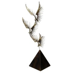 "Minimal Curtis Jeré ""Birds in Flight"" Bronze Floor Sculpture Signed and Dated"