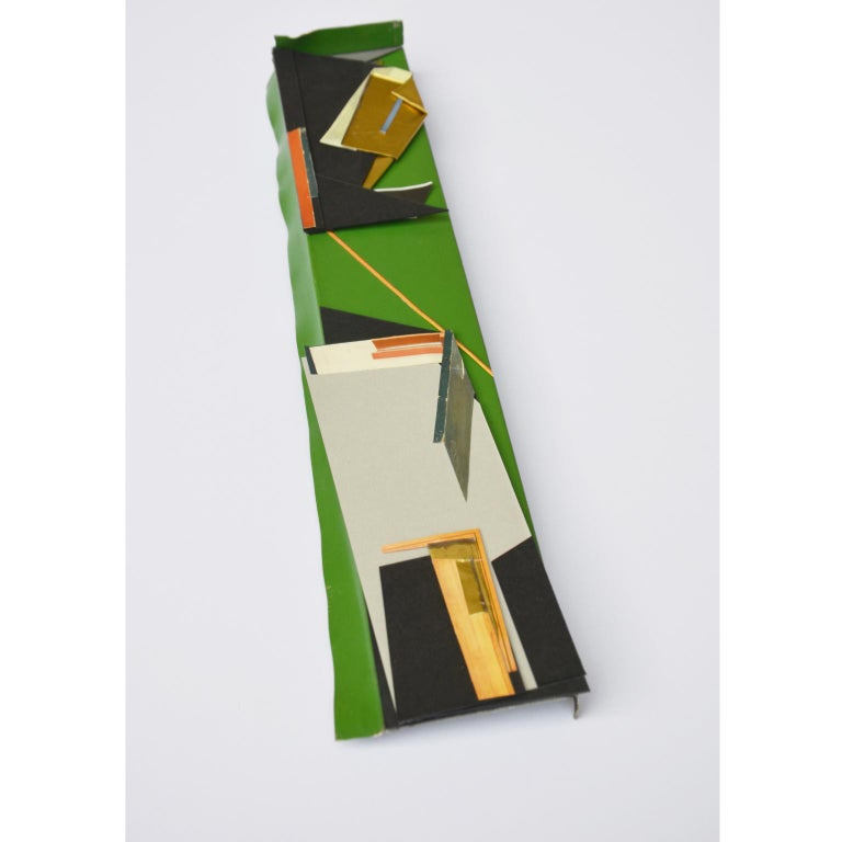 Minimal Decorative Object Green Gold Mixed Colors Collage Photomontage In New Condition For Sale In Glasgow, GB