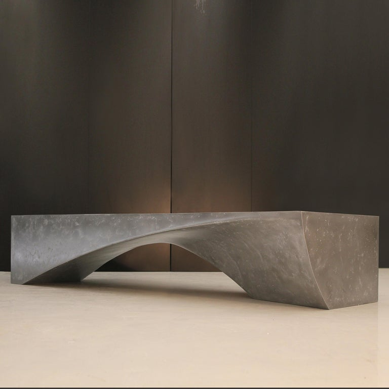 Minimalist Minimal Design Central Low Coffee and Cocktail Table Cast in OMG Metal