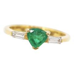 Minimal Emerald Baguette Diamond Crown Ring w/ Hidden Heart in 18K Yellow Gold