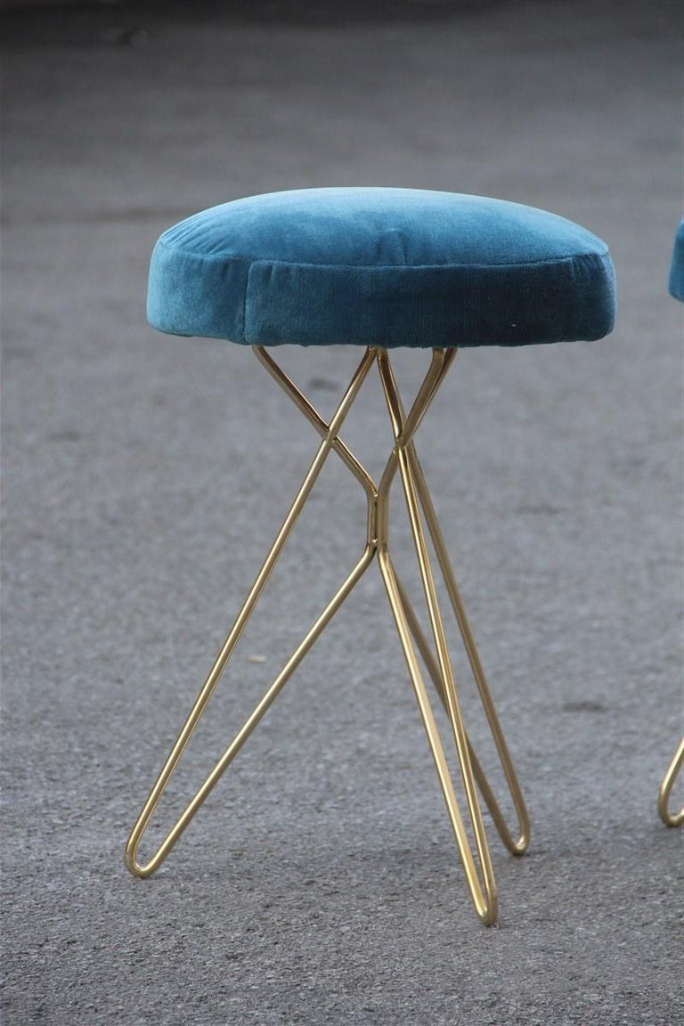 Minimal geometric pair of stools new brass velvet blu Italian design.   You'll find photos with different Chenille/Velvet colors available, which you can choose according to your needs!
