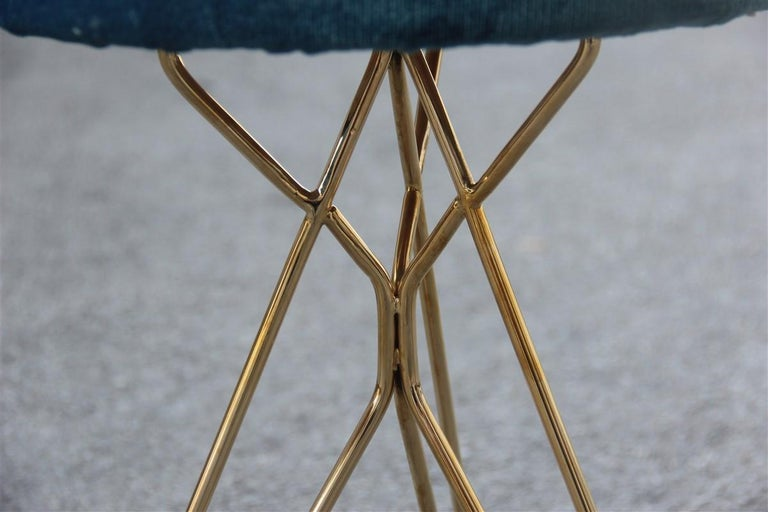 Minimal Geometric Pair of Stools New Brass Velvet Blu Italian Design For Sale 1
