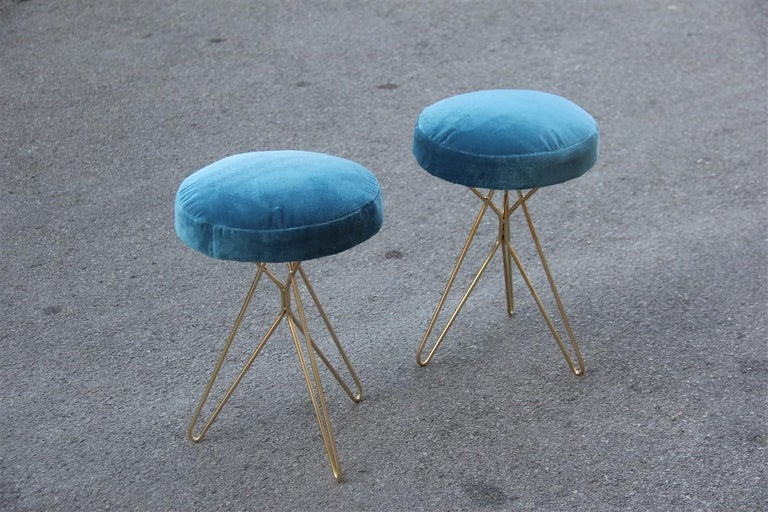 Minimal Geometric Pair of Stools New Brass Velvet Blu Italian Design For Sale 2