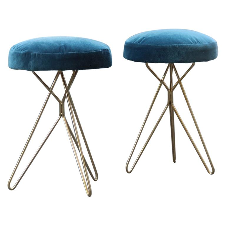Minimal Geometric Pair of Stools New Brass Velvet Blu Italian Design For Sale