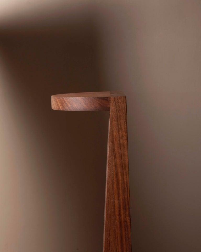 Modern Minimal Geometric Pedestal Table in Black Walnut by Campagna For Sale
