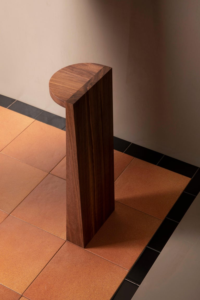 Hand-Crafted Minimal Geometric Pedestal Table in Black Walnut by Campagna For Sale