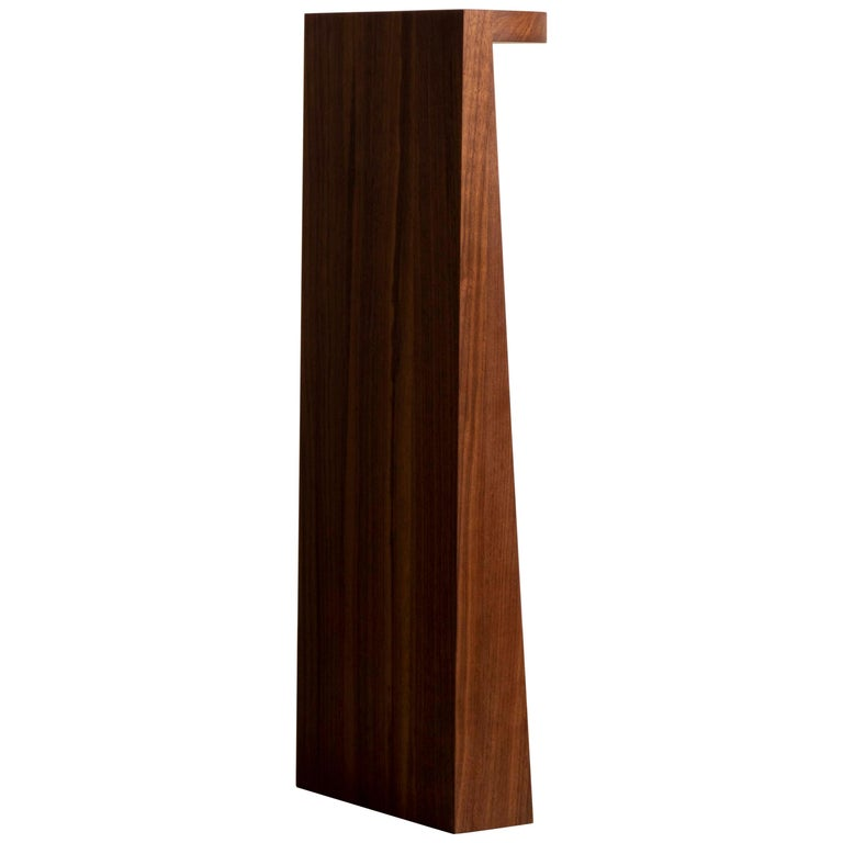 Minimal Geometric Pedestal Table in Black Walnut by Campagna For Sale