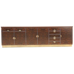 Luxury Sideboard Walnut Root Brass Aluminum Carlo Torriggiani for Did Dado 1970s
