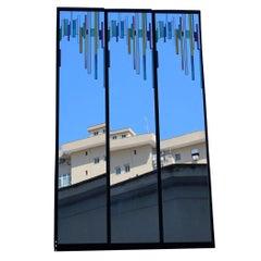 Minimal Great Rimadesio Lucio del Pezzo 1980 Italian Wall Mirror Colored