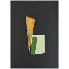 Minimal Green Gold Original Hand Crafted Collage Paper Brass Metal Mixed Media