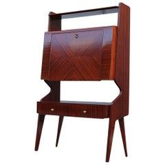 Minimal Italian Mid-Century Geometric Cabinet Bar Mahogany Dassi Milano