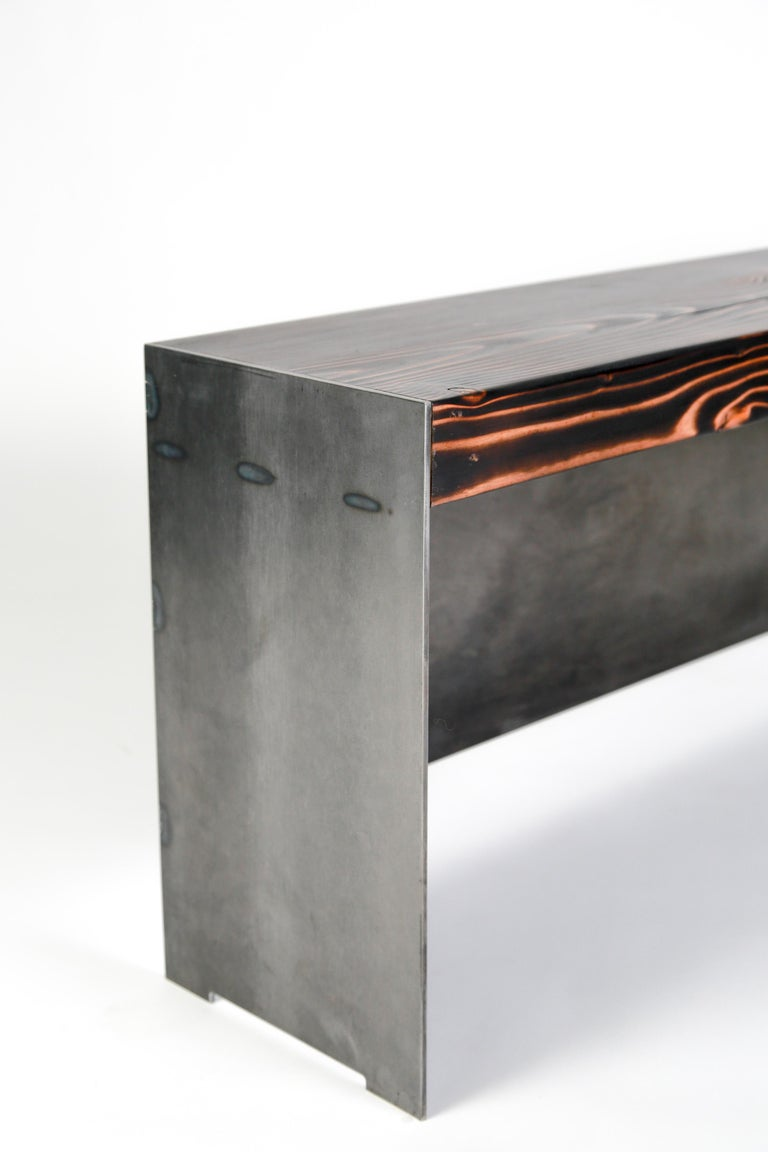 Blackened Minimal Modern Raw Steel and Reclaimed Fir Mudroom Bench For Sale