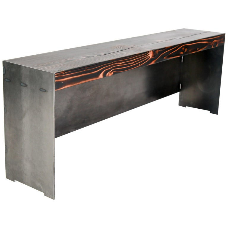 Minimal Modern Raw Steel and Reclaimed Fir Mudroom Bench For Sale