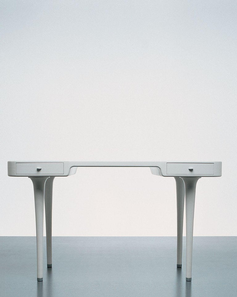Minimal modern white Riga desk by Marc Newson for Cappellini, contemporary postmodern writing console