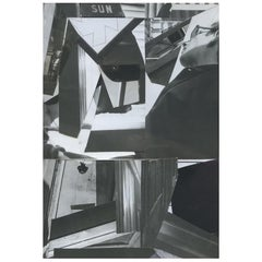 Minimal Monochrome Original Hand Crafted Collage Photomontage Mixed-Media