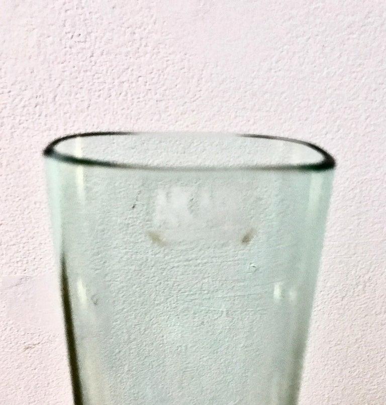 Organic Modern Minimal Murano Green & Clear Art Glass