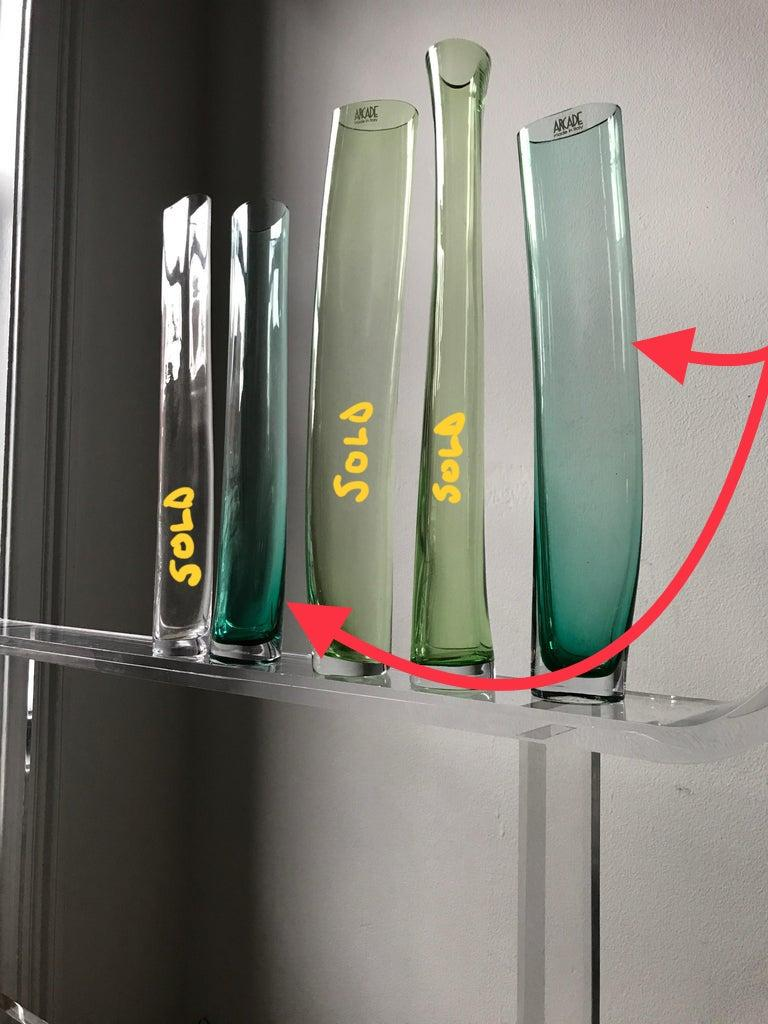 Italian Minimal Murano Green & Clear Art Glass