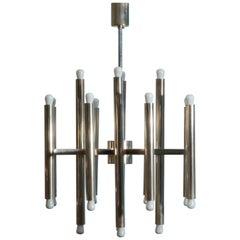 Minimal Nickel Sciolari Chandelier with 24 Lights