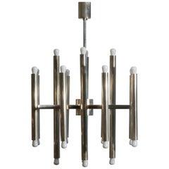 Minimal Chandelier in Nickel  by Sciolari with 24 Lights