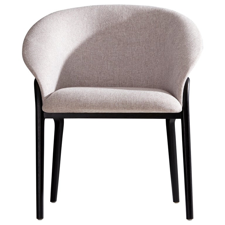 Minimal Organic Chair in Solid Wood, Upholstered Seating For Sale