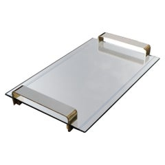 Minimal Rectangular Tray Italian Design Handles Solid Brass 1970s Mirror
