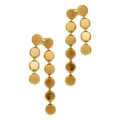 Earrings Studs Round Chain Minimal  Short 18K Gold-Plated Silver Greek Earrings