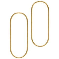Minimal Snake Chain 18 Karat Gold-Plated Silver Large Hoop Shape Greek Earrings