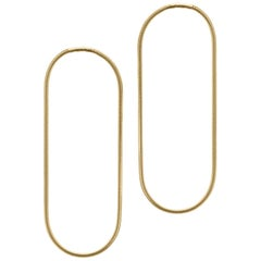 Minimal Snake Chain Gold-Plated Silver Extra Large Hoop Shape Greek Earrings