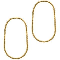 Minimal Snake Chain Gold Plated Silver Small Hoop Shape Greek Earrings