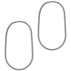 Minimal Snake Chain Sterling Silver Small Hoop Shape Greek Earrings