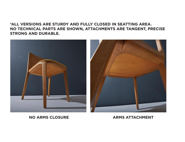 Minimal Style, Solid Wood Chair, Leather or Textile Seating, Caning Backboard For Sale 8