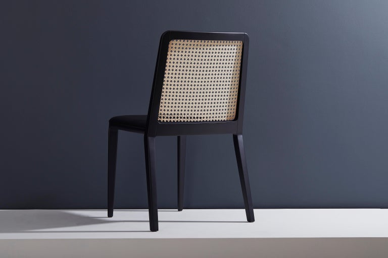 Modern Minimal Style, Solid Wood Chair, Leather or Textile Seating, Caning Backboard For Sale