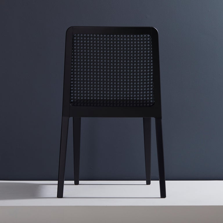 Minimal Style, Solid Wood Chair, Leather or Textile Seating, Caning Backboard In New Condition For Sale In Sao Paolo, SP