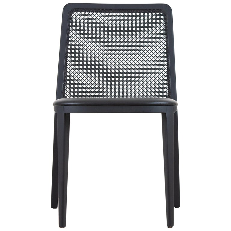 Minimal Style, Solid Wood Chair, Leather or Textile Seating, Caning Backboard For Sale