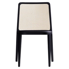 Minimal Style, Solid Wood Chair, Leather or Textile Seating, Caning Backboard
