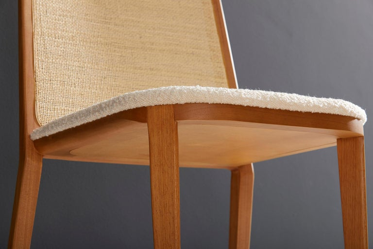 Minimal Style, Solid Wood Chair, Special Textile Seating, Caning Backboard For Sale 3