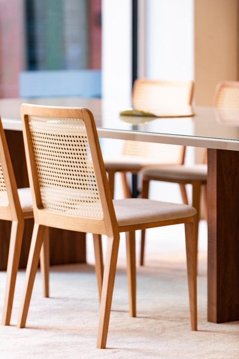 Minimal Style, Solid Wood Chair, Special Textile Seating, Caning Backboard For Sale 4