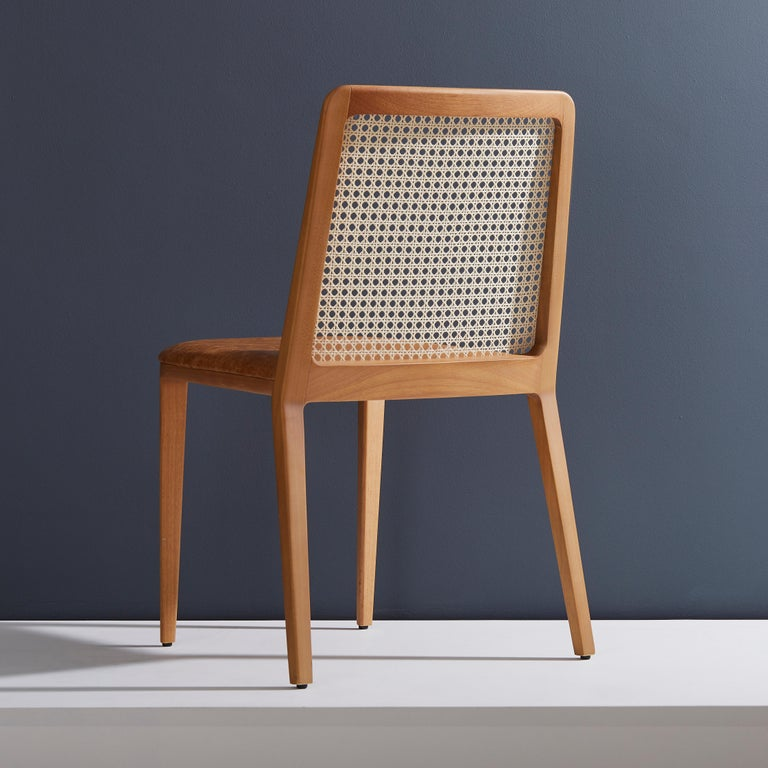 Modern Minimal Style, Solid Wood Chair, Leather Seating, Caning Backboard For Sale